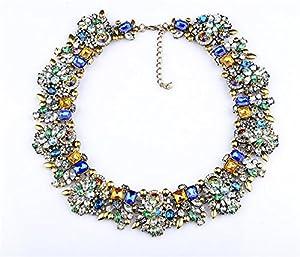 Girl Era Colorful Rhinestone Crystal Gem Flower Necklace Collar Bib for Women(b)