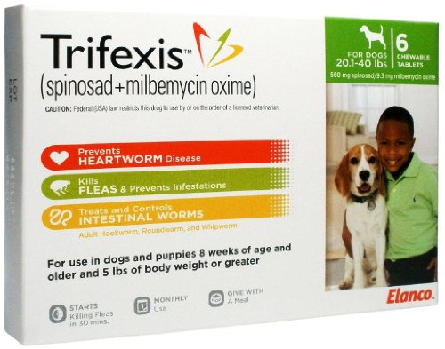 Trifexis for Dogs (Green) – 20-40 lbs – 6 count image
