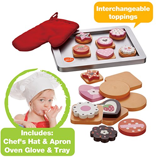 Wooden Cookie Baking Set with 28 pieces including Wooden Magnetic Cookies, Swappable Toppings, Chef's Hat, Red Oven Glove, Apron and Oven Tray (Small Oven Kids compare prices)