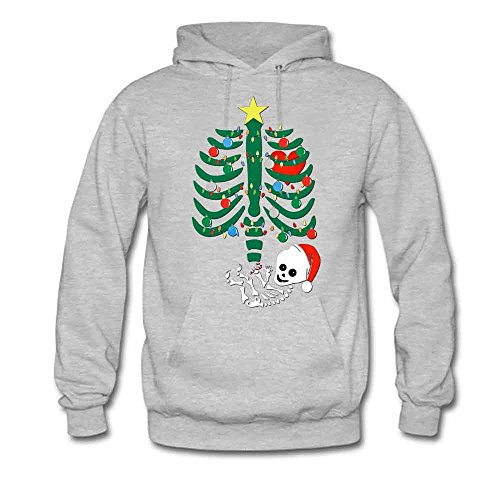 Womens Hoodies Skull Skeleton Santa Hat Christmas Tree Sweatshirts XL