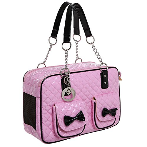 MG Collection Fashion Pink Faux Patent Leather Quilt Soft Sided Dog & Cat Travel Pet Carrier Tote Handbag