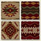 4 NATIVE american SOUTHWESTERN design coasters ART New ~ AbsorbaStone