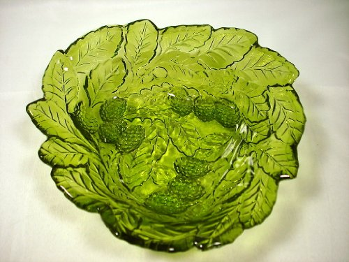 Vintage Indiana Glass Loganberry Raised Berries & Leaves Green Candy Dish Bowl Vintage Carnival Glass