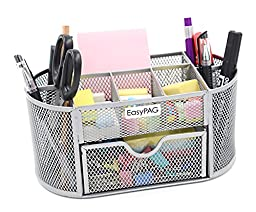 EasyPAG Mesh Desk Organizer 9 Components Office Supplies Caddy with Drawer Sliver