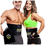 Waist Trimmer Ab Belt (Double Inside Velcro Edition) - Adjustable Weight Loss Sauna Belt For Men & Women With FREE Carrying Bag - Provides Lower Back & Lumbar Supports For Easy, Effortless Waist Slimming - Lifetime Guarantee