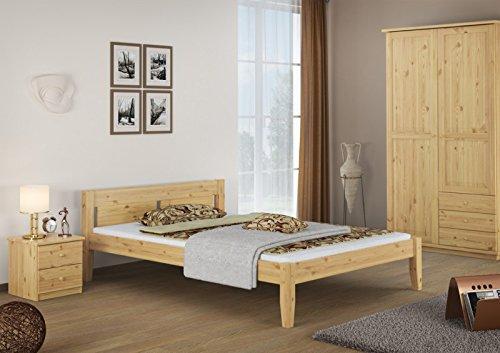 60, 52-14 Letto 140 x 200 in legno di pino massiccio, con roll ruggine