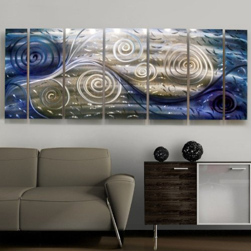 Modern Blue/Silver/Gold Jewel Toned Metal Wall Art Sculpture - Winter Winds by Jon Allen