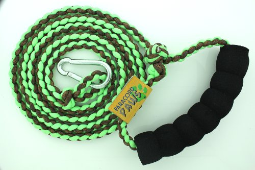 d6992383e7d The Features Paracord Paws Adjusting Multifunction Glow in The Dark Walking  Leash for Dogs Green Coffee Camo -