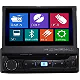 TUVVA KSD7843B In-Dash Car Multimedia Receiver 1-DIN 7-inch Motorized Touchscreen DVD / CD / USB / AUX-IN / MP4 / MP3 Player RDS Radio Bluetooth Audio Streaming Hands-free Calls with Remote Control