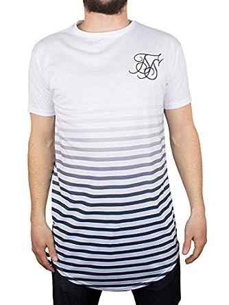 Sik silk men 39 s curved hem t shirt white for Silk white t shirt