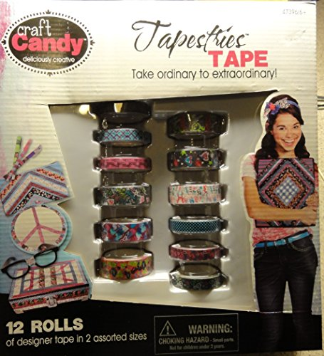 Craft Candy Tapestries Tape 12 Rolls of Designer Tape in 2 Assorted Sizes