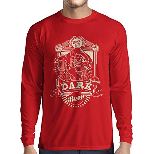 N4346L T-shirt manica lunga da uomo Birra scura (X-Large Rosso Multicolore)