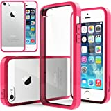 Caseology Apple iPhone 5/5S [Premium Fusion Series] - Slim Fit Hybrid Scratch-Resistant Clear back thin Cover with Shock Absorbent TPU Protector Bumper Case (Hot Pink) [Made in Korea] (for Verizon, AT&T Sprint, T-mobile, Unlocked)
