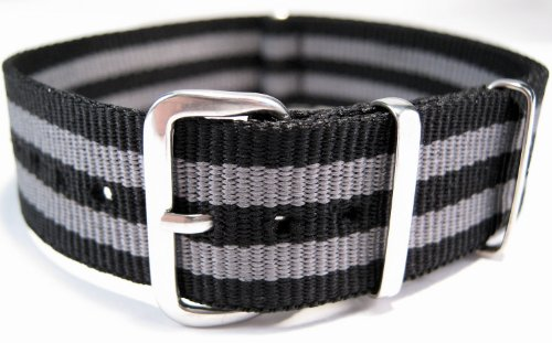 G10 Nato Military Black And Grey Stripe Watch Strap Band 22mm