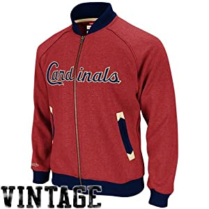 MLB St Louis Cardinals Intrasquad Track Jacket Mitchell Ness Cooperstown SM Mens by Mitchell & Ness