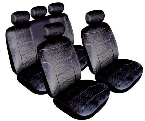 Renault Clio Domino Full Set of Car Seat Covers 60/40 Split Rear in Black 5 Headrest Covers