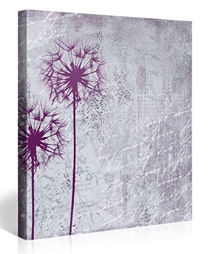 Gallery of Innovative Art - Lila Pusteblume 80x80cm - Modern Art Leinwanddruck, Wandbilder, Kunstdrucke als Leinwandbild - Neu und Aufgespannt auf Keilrahmen - XXL Bilder Dekoration für Zuhause