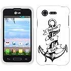 Casemas (TM) Refuse to Sink Sketch Anchor Flexible Slim TPU Phone Case Cover for LG Optimus Fuel L34C / Zone 2 VS415