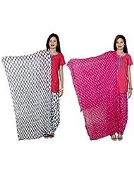 Indistar Women's Cotton Patiala Salwar With Dupatta Combo (Pack Of 2 Salwar With Dupatta) - B01HRK63EC
