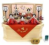 秀光オリジナル限定品 雛人形衣装着五人コンパクト収納飾りセット 木製道具に桜散らし盛上刺繍屏風。どこにでもマッチする飾り台兼用の六角収納桐箱のセット