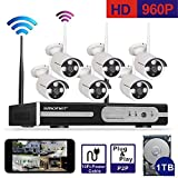 [Better Than 720P]Smonet 6 Channel 960P(1280X960) HD Wireless Video Security System (NVR Kit),6PCS 1.3MP Wireless Weatherproof Bullet IP Cameras,Plug and Play,65ft Night Vision,1TB HDD Pre-installed
