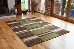 Bombay Soft Stylish Green & Brown Checked Rugs 9259 - 4 Sizes Available by The Rug House