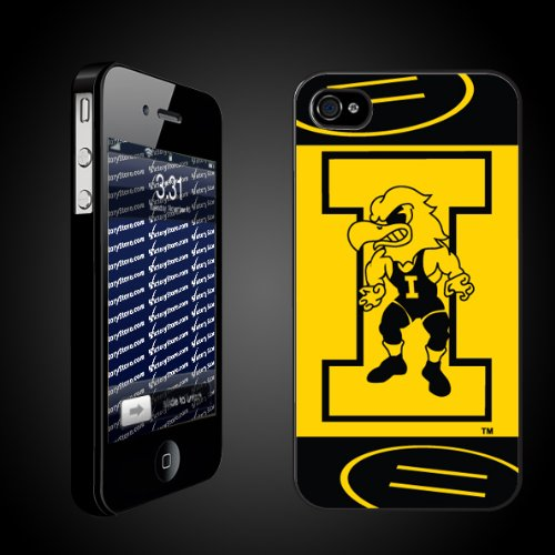 University of Iowa Hawkeyes BLACK iPhone Hard Case   (#11 Wrestler Herky)   Protective iPhone 4/iPhone 4S Case.