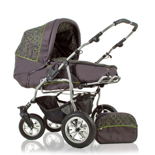 twin pram - twin pushchair - duo stroller DUET + pushchair mode - in design BLACK-GREEN DOTS DECOR (D15) - more fabulous designs in our amazon shop