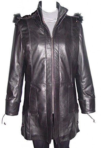 Johnny 5002 Size M Women Hooded Leather Coats Fox Fur Trim The Parka Soft Lamb