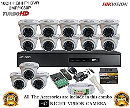 Hikvision DS-7216HQHI-E2 16CH Dvr, 13(DS-2CE56DOT-IRP) Dome Cameras (With Mouse, Remote, 2TB HDD,Cable , Bnc&Dc Connectors,Power Supply)