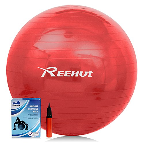 Reehut Anti-Burst Core Exercise Ball for Yoga, Balance, Workout, Fitness w/ Pump (Red, 65CM)