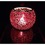 Red Color Designer Candle Holders Glass