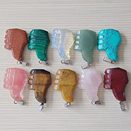 10Pcs/Lot Fashion Mixed Nature Stone Comb Shape Charms Pendants