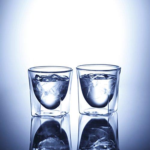 RDS-004_2  RayES/レイエス ダブルウォールグラス 200ml [2個入り(ペア セット)] 保冷 保温 耐熱 結露しにくい 食洗機対応 タンブラー 焼酎グラス ロックグラス ウィスキーグラス スクエアデザイングラス