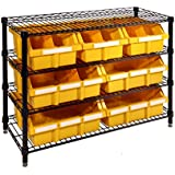 Seville Classics 4-Shelf with 7 Bin Rack, Black/Yellow