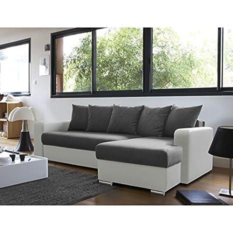 MCD Andy - Sofá cama esquinero (3 plazas), color blanco
