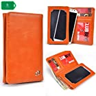 Motorola DROID RAZR MAXX HD -ORANGE BI FOLD PROTECTIVE PHONE HOLDER PLUS WALLET[ INCLUDES FULL LENGTH BILL SLOT AND CARD INSERTS] UNIVERSAL FIT