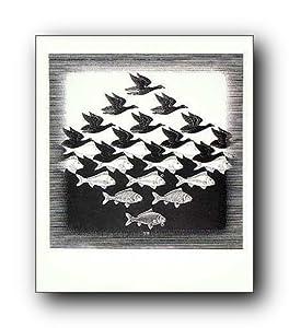(22x26) M.C. Escher Sky & Water I Art Poster Print
