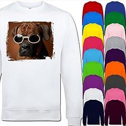 Boxer Dog Wearing Goggles Unisex Adult Sweatshirt Sizes XS, S, M, L, XL, 2XL, 3XL