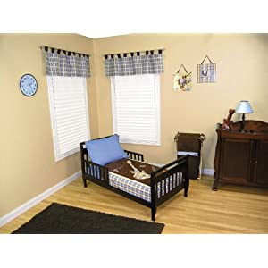 blue and brown toddler bedding set