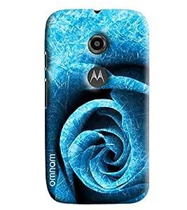 Omnam Blue Rose Printed Pattern Printed Designer Back Cover Case For Moto E2