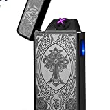 Pickpro Black Cross Tesla Coil Electric Lighter Rechargeable with Cord and Gift Box.Windproof/Flameless (Color: black cross)