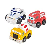 SainSmart Jr. Mini Pull-Back Vehicles Play Set - Soft and Squeezable, Employs Tactile Engagement and Teaches Beneficial Roleplay - Ideal Gift for Toddlers and Preschoolers Ages 12 Months and Up
