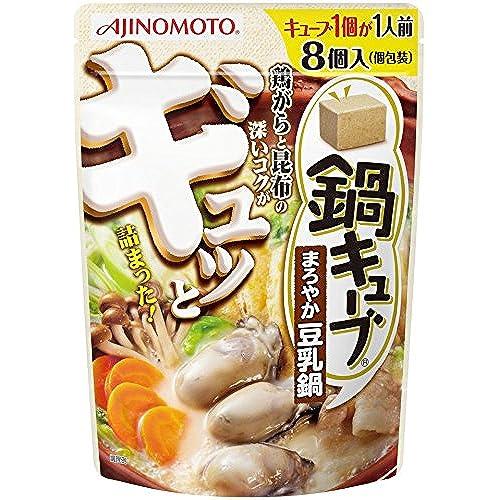 [겨울철 따뜻한 전골 나베요리 스프] 아지노모토(Ajinomoto) 나베큐브 1개가 1인용 간단요리 일본식 전골 스프 나베노모토 두유맛 8개입×3개