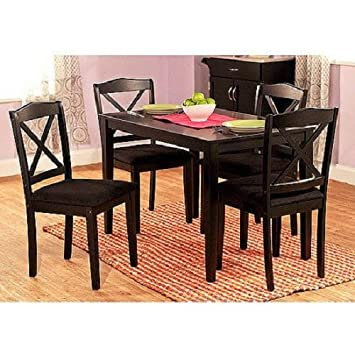 5 Piece Cross Back Dining Set Black