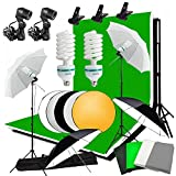 Abeststudio Photo Studio Continuous Lighting Kit 2x135W Bulb,4x 1.6*3m Backdrops(Black White Green Gray ), 4x Umbrella 2x Light Stand, 2*3m Background Support Stand + 60cm 5 in 1 Reflector Panel