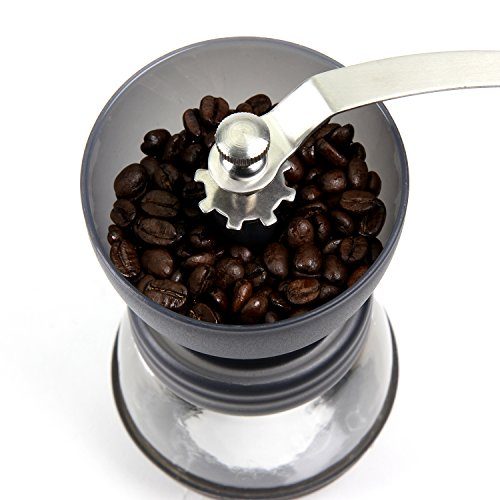 CoZroom Black Manual Coffee Grinder, Burr Espresso Coffee Grinder -Food Saftey Ceramic, Hand-crank Coffee Mill