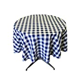 LA Linen Poly Checkered Round Tablecloth, 51-Inch, Navy/White