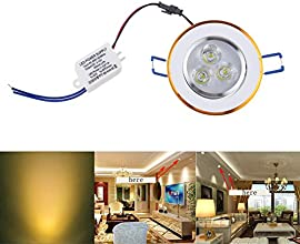 Chinatera 3W LED Ceiling Light Downlight Fixture Recessed Spot Lamp w Driver 85-265V Yellowwhite War