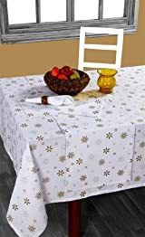 Homescapes - Christmas - Tablecloth - Gold Snowflake - X Mas design - 54 x 90 Inch - 100% Cotton - White and Gold Colour - Washable at Home .